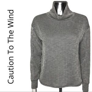 Caution to the Wind Vertical Stripe Cowl Neck Top
